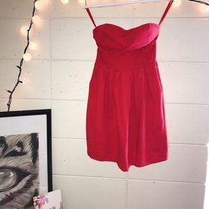 Red strapless summer dress
